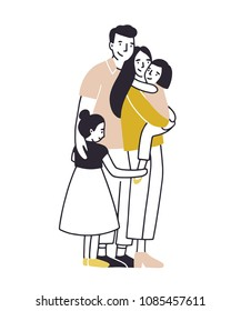 Loving family. Father, mother and two daughters standing together and cuddling. Parents and children hugging. Flat cartoon characters isolated on white background. Colored vector illustration