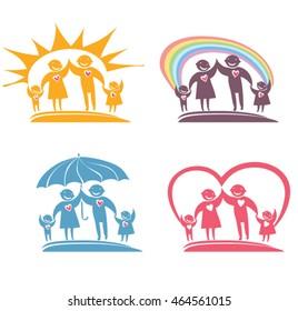 Loving family. Four vector image.