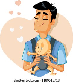 Loving Father Holding Baby Vector Illustration. Portrait of a single daddy with his cute little child
