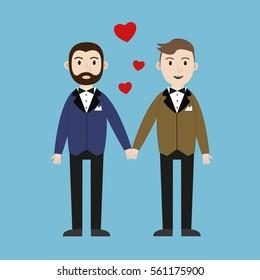 Loving gay male couple wedding card