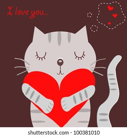 Loving grey cat