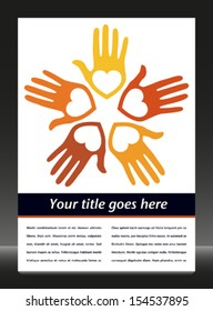 Loving hands with copy space vector.