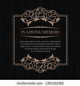 In loving memory banner with brown bronze rose frame on black texture background vector design