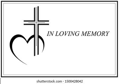 in loving memory card vector illustration