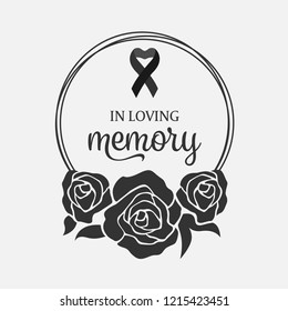 In loving Memory text and ribbon in Black Wreath rose vector design
