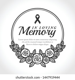 In loving Memory text and ribbon in Black circle line Wreath rose vector design