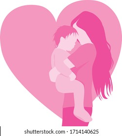 Loving mother and baby flat simple minimal vector illustration for Mother's Day