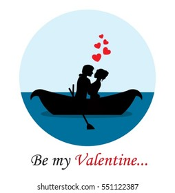 loving people hugging and paddle boat. Round emblem with sky pond and text on a white background