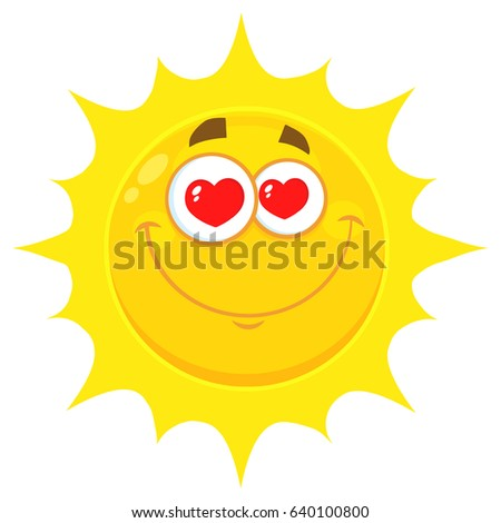 bca9724ee1b1 Loving Yellow Sun Cartoon Emoji Face Character With Hearts Eyes. Vector  Illustration Isolated On White