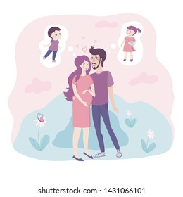 Loving young couple with pregnant woman cradling her baby bump in her hands embracing as they each dream of their desired child - she wants a boy, he wants a girl, in tones of pink and blue
