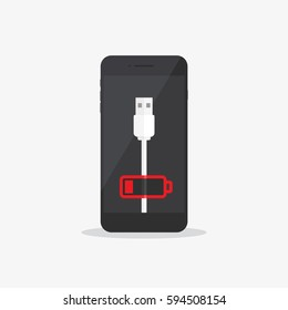 Low Battery Charge Phone Flat Icon