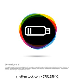 low battery icon, White pictogram icon creative circle Multicolor background. Vector illustration. Flat icon design style