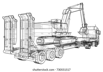 Low bed Truck Trailer and excavator. Wire-frame. EPS10 format. Vector created of 3d.