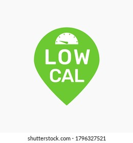 Low calorie stamp vector icon. Food cal symbol for label design of low fat and sugar free healthy fitness snack. Green graphic weight and calory scale concept illustration for dieting control sign. V1