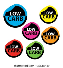 Low carb in colorful circle sticker, label, sign. Vector