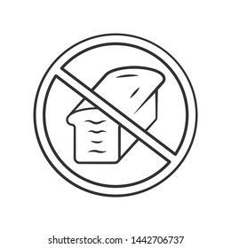 Low carb diet linear icon. Carbohydrate, gluten free product. Thin line illustration. High fat containing food refuse. Contour symbol. No bread sign. Vector isolated outline drawing. Editable stroke