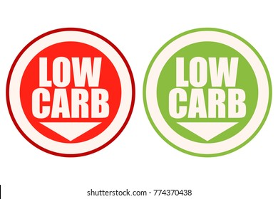 Low Carb Red and Green Round Signs.