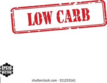 Low carb red grunge rubber stamp. Vector illustration.