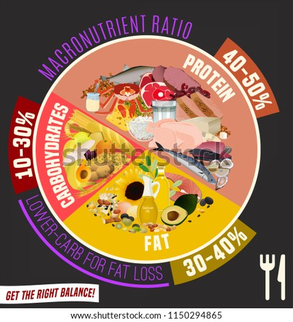 Low Carbohydrate Diet Diagram Macronutrient Ratio Stock Vector
