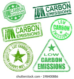 Low carbon emissions rubber stamp vector illustrations