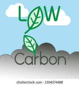 Low carbon typographic design. Carbon dioxide reduction symbol. Vector illustration outline flat design style.