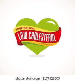 Low cholesterol, low fat icon vector in heart shape.