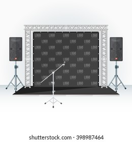 low conference stage metal truss with loud speakers and microphone stand press wall banner background