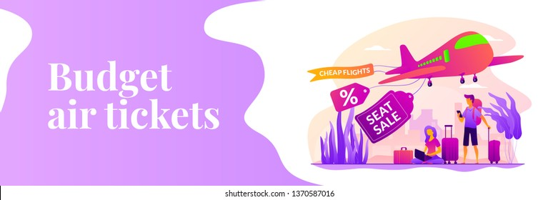 Low cost flights, budget air tickets, cheap fly tickets concept. Vector banner template for social media with text copy space and infographic concept illustration.