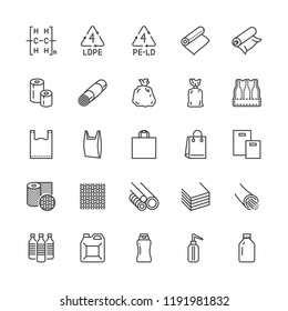 Low density polyethylene flat line icons. LDPE products - food package film, thermoresistant paper, garbage bag, plastic bottle, bubble wrap vector illustrations. Pixel perfect 64x64. Editable Strokes