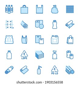 Low density polyethylene flat line icons. LDPE products - food package film, thermoresistant paper, garbage bag, plastic water bottle, bubble wrap vector illustrations. Blue color, Editable Stroke.