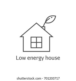Low energy house thin line icon. Eco frendly home symbol.