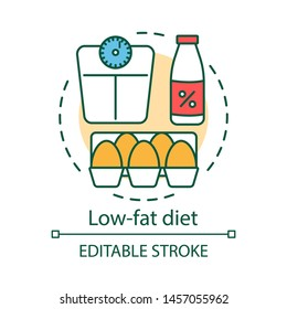 Low fat diet concept icon. Vegetarian nutrition idea thin line illustration. Healthy food, vegan lifestyle. Skimmed milk, raw eggs and weight scales vector isolated outline drawing. Editable stroke