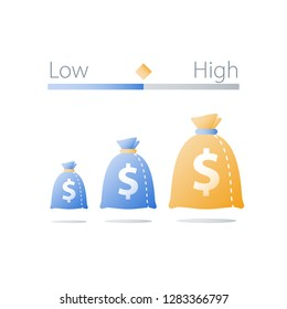 Low or high investment risk comparison, hedge fund, safe or insecure asset allocation, small or big money bag, interest rate, income growth, financial report concept, business expenses, vector icon