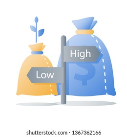 Low or high investment risk, small or large interest rate, slow or fast financial growth, capital allocation, earn less or more money, investment option, vector icon