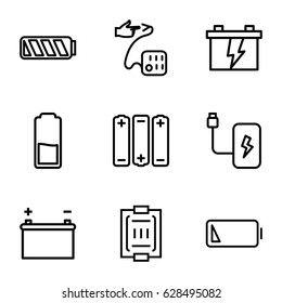 Low icons set. set of 9 low outline icons such as battery, blood pressure measure, blood pressure