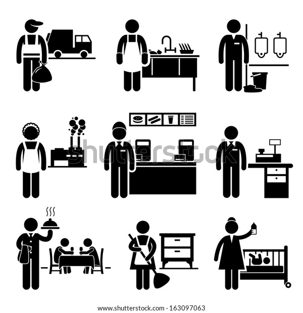 Low Income Jobs Occupations Careers - Garbage Man, Dishwasher, Janitor, Factory Worker, Fast Food Server, Cashier, Waiter, Maid, Nanny - Stick Figure Pictogram