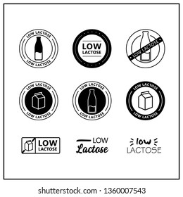Low lactose drawn icon set. Healthy lettering symbols and signs of low lactose. Black and white low lactose vector logos for products. Vector.