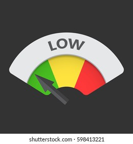 Low level risk gauge vector icon. Low fuel illustration on black background.