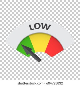 Low level risk gauge vector icon. Low fuel illustration on isolated background.