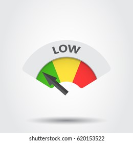 Low level risk gauge vector icon. Low fuel illustration on gray background.