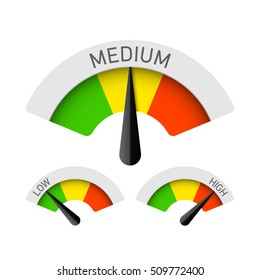 Low, Medium and High gauges. Vector illustration.