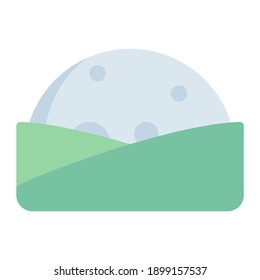 low moonrise and moonset in hill using soft color and flat style