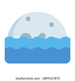 low moonrise and moonset in sea using soft color and flat style