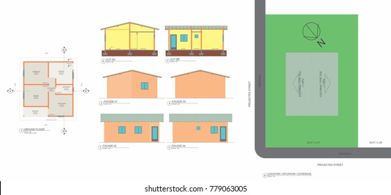 Low plant, cuts, facades and popular house implantation