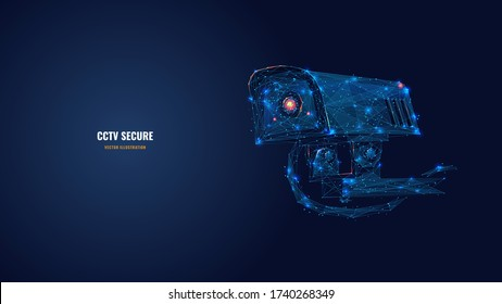 Low poly 3d CCTV security camera in dark blue. Abstract surveillance technology, safety, smart home or traffic monitoring concept. Vector mesh illustration with dots, lines and glowing particles