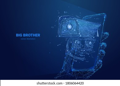 Low poly 3d hand holding smartphone with security camera on screen. Big Brother is watching. Abstract vector illustration in dark blue. Surveillance, spying, control, personal data and privacy concept