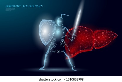 Low poly 3D human liver khight shield protect. Medicine recovery technology drug medicine concept. Vector illustration