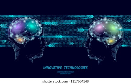 Low poly abstract brain virtual reality concept. Geometric polygonal hologram mind imagination innovation modern vector illustration active education online extra mental half face neurocomputer