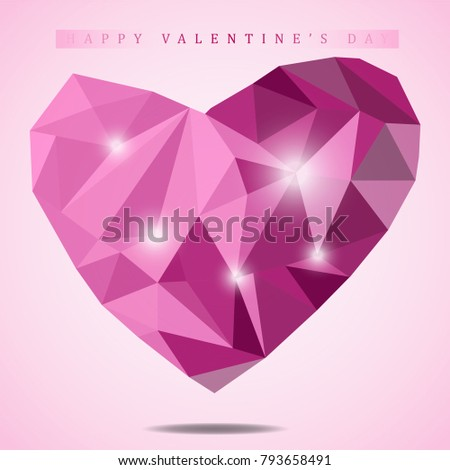 Low Poly Abstract Pink Heart 3 D Stock Vector (Royalty Free