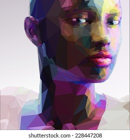 Low poly abstract portrait of a black girl